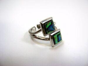 Gorgeous Vintage Ring: Silver Tone Double Abalone Squares Design Sz. 5
