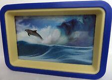 """wunderschönes Sandbild """" Delfin / Welle """" mit Spiegel, blauer Rahmen, neu"""