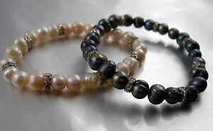 Süsswasser Zuchtperlen Armband elastisch mit Strass Ringen Perlen Größe 6-7 mm