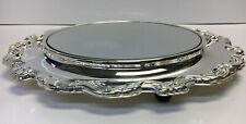 """Lauren"" Silver Plated 13 inch Footed Dresser Vanity Mirror International Silver"