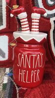 New RAE DUNN Holiday Christmas LL SANTA'S HELPER Red Baby Canister Magenta 2020