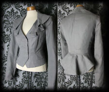 Gothic Grey Fitted Peplum DEADLY Frill Collar Jacket Coat 8 10 Victorian Vintage