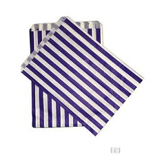 More details for 100 blue candy stripe paper party gift sweet bags 5