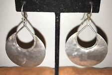 Silpada Israel Sterling Silver 925 Hammered Disc Dangle Earrings