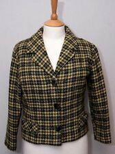 1960's vintage women's moss green dogtooth check smart wool tweed jacket uk10/12