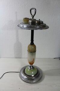 Vintage Art Deco Smoking Tobacco Light Stand Ashtray Chrome Metal & Slag Glass
