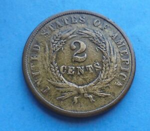 United States, 1864, 2 Cents, as shown.