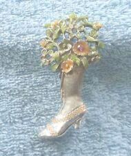 Silvertone Bouquet & Ladies Boot Brooch/Pin