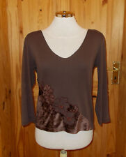 PER UNA M&S chocolate brown velvet floral 3/4 sleeve t-shirt top tunic 12 40
