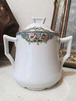 ancien sucrier en porcelaine de limoges BRP decor style louis XVI epoque 1925