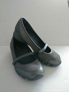 Skechers Sassies Mary Jane Gray Wedge Comfort Shoes SN21269 Womens Size 8