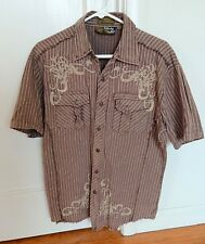 FRANKY MAX Tribal Short Sleeved Studded Shirt - 100% Cotton - Sz M