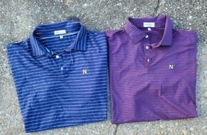 Lot Of Two Peter Millar Woven Linen Blend Naval Academy Polo Shirts Size XL