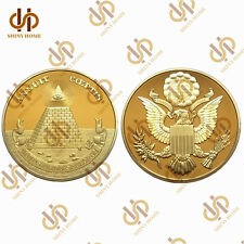 USA National Emblem Annuit Coeptis Novus Ordo Seclorum Masonic Gold Coin Collect