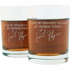 Errol Flynn Famous Quote Etched Whiskey Glass Set