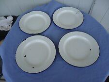 4 vintage antique blue & white enamel dinner plates camping several sets avail