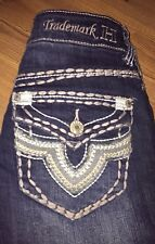 TRADEMARK H Women's  Boot Jeans Distressed Thick Stitch Size 0/25