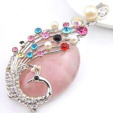 Peacock Design Multi-color Huge Natural Rose Quartz Gems Silver Necklace Pendant