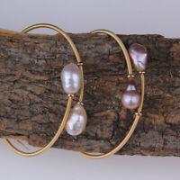 Mode neues vergoldetes Süßwasserperlen öffnungs armband