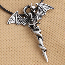 Unique Men's Flying Dragon Sword Titanium Stainless Steel Pendant Necklace QUE