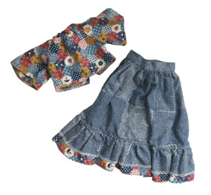 VINTAGE FISHER PRICE MY FRIEND MANDY'S DOLL FASHION CLOTHES PATIO PARTY DENIM