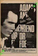 Adam Ant Friend Or Foe Tour Advert NME Cutting 1982
