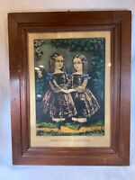 "Antique Currier & Ives Hand Colored Lithograph ""The Little Sisters"" Framed e491"