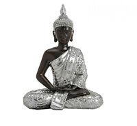 Buddha Figur Statue Dekofigur Feng Shui Garten Budda Skulptur Schwarz Silber