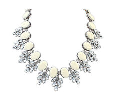 White Crystal Jewel Gemstone Statement Necklace