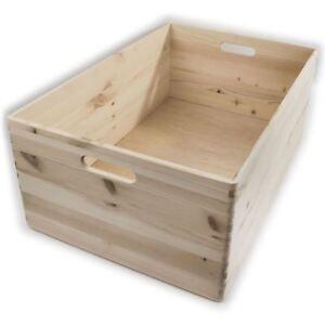 Extra Large Wooden Decorative Storage Box / 60x40x23 cm / Plain Pine For Craft