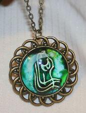 Lovely Loop Rim Blue White Aquarius Waterbearer Zodiac Symbol Brasstone Necklace