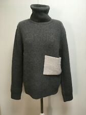 J. JS Lee wool blend grey ribbed chunky sweater polo neck jumper 8
