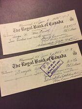 1955 The Royal Bank Of Canada Nova Scotia Paper Bills Cheques Vintage E97