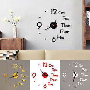 DIY Large 3D Numerals Wall Clock Surface Mirror Sticker Art Home Office Decor UK