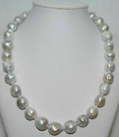 "Long 18"" 11-13mm Genuine Natural South Sea White Baroque Edison Pearl Necklace"