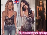 Women Choker Bardot Deep Plunge Lace Bodysuit Leotard Top Meshing Sheer Lingerie