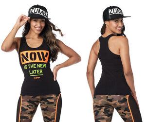 Zumba Now Is The New Later Racerback Tank Top - Bold Black~ XS, S, M, L, XL, XXL