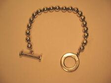 Bracelet Toggle Clasp Zina Sterling Silver Beads 7.5 in Beaded 925 Band Vintage