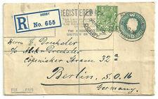 4D GEORGE V REGISTERED ENVELOPE + 1/2D DERBY 1920 REGISTERED LABEL TO GERMANY