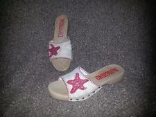 MOSCHINO-Starfish Applique Canvas and Wood Clogs-SZ 9M-Excellent