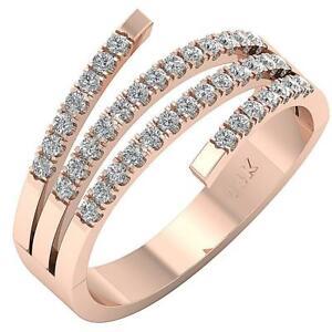I1 G 0.60 Ct Natural Diamond Engagement Ring Pave Set 14K Gold Appraisal 12.80MM