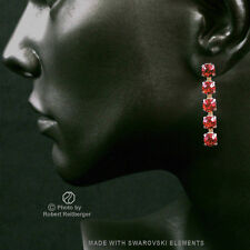 Earrings with 5 Swarovski Crystals Colour: Siam, Light, Red