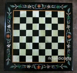 18 Inches Black Marble Coffee Cum Chess Board Table Top with Inlay Art at Border