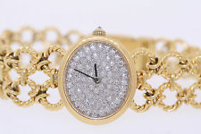 Vintage Baume & Mercier B&M 18k Yellow Gold 1.50ctw Diamond Dial Ladies Watch