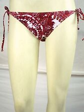 B-Split Dark Red White Swimwear String Bikini Bottoms Juniors Size Small 3 5