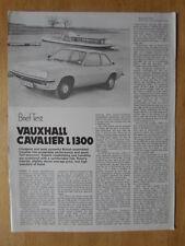 VAUXHALL CAVALIER 1300 L 1977 UK Mkt Road Test Leaflet Brochure
