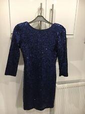 TFNC LONDON SIZE 8 MIDNIGHT BLUE SEQUIN 3/4 SLEEVE MINI BODYCON DRESS BNWTS