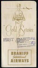 BRANIFF INTERNATIONAL airways GOLD SERVICE TICKET JACKET 1959 - ax