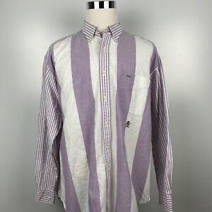 Vtg Tommy Hilfiger Men's XL Purple/White Long Sleeve Casual Crest Button Shirt