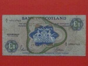 SCOTLAND ( 1968 RARE SCARCE ) ONE POUND BEAUTIFUL RARE SCARCE BANK NOTE
